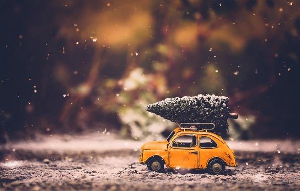 Картинка машина, праздник, игрушки, ёлка