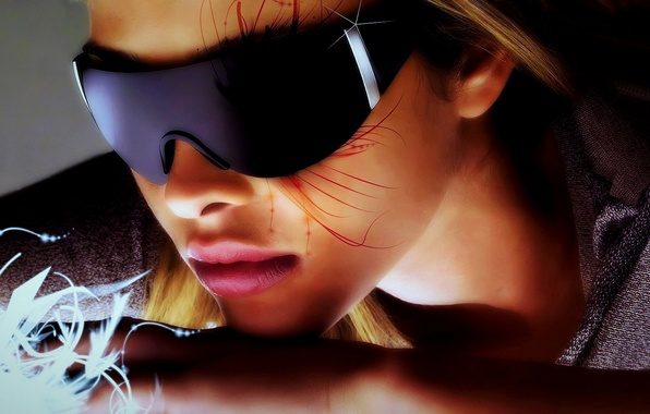 Картинка цвета, девушка, свет, лицо, стиль, креатив, фон, фантазия, widescreen, яркие, волосы, рисунок, тень, нос, арт, …
