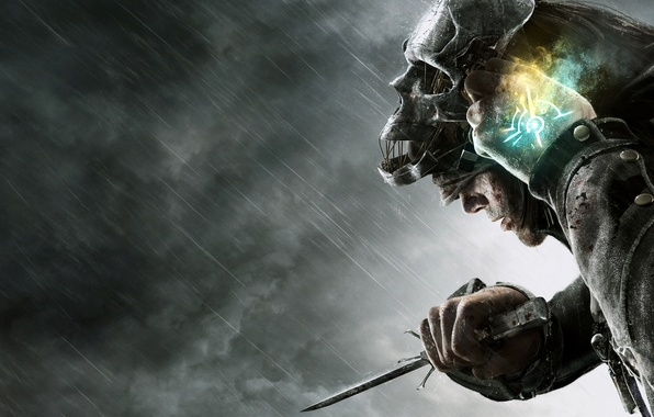 Картинка дождь, кровь, маска, капюшон, кинжал, убийца, Dishonored, телохранитель, Корво, assassin's, Corvo