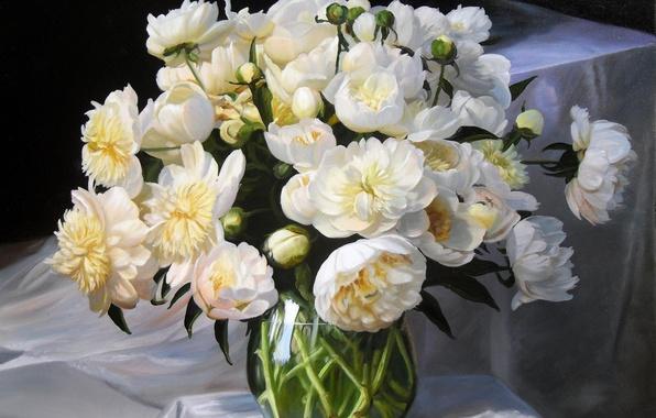 Картинка цветы, букет, картина, ткань, ваза, белые, натюрморт, бутоны, пионы, Zbigniew Kopania