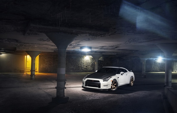Картинка Nissan, GT-R, Car, Front, White, R35, Sport, Evo G
