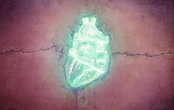 Картинка свет, стиль, знак, узоры, сердце, радиация, текстура, неон, light, style, texture, sign, patterns, 1920x1200, neon, …
