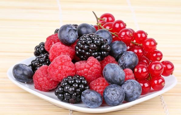 Картинка ягоды, малина, фон, обои, еда, черника, тарелка, wallpaper, смородина, широкоформатные, background, полноэкранные, HD wallpapers, широкоэкранные