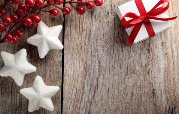 Картинка украшения, ягоды, подарок, Новый Год, Рождество, Christmas, wood, decoration, Merry