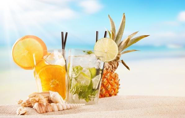 Фото обои fruit, paradise, drink, beach, пляж, cocktail, sea, море, коктейль, фрукты, summer, tropical, fresh