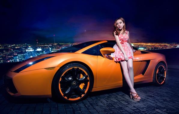 Картинка машина, авто, девушка, модель, азиатка, автомобиль, Lamborghini Gallardo, korean model