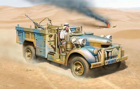 Картинка арт, компания, спецназ, британский, SAS, WW2., начале, северной Африке, North African, Commander's Car, Desert, Long …