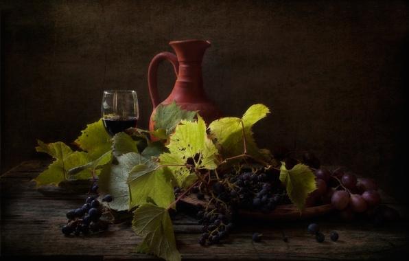 Картинка вино, виноград, кувшин, натюрморт