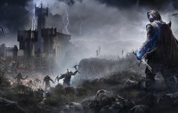 Картинка гроза, туман, магия, меч, воин, призрак, броня, крепость, трупы, Рейнджер, Warner Bros. Interactive Entertainment, Орки, …