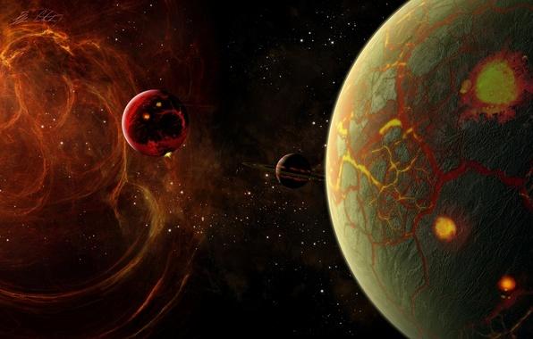 Картинка энергия, космос, трещины, звезда, планеты, кольца, regulus36