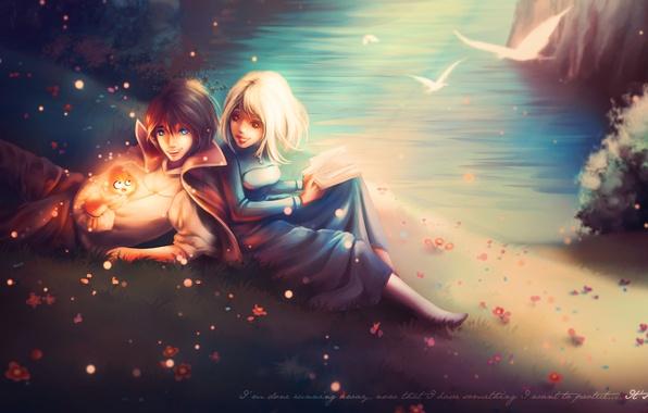 Обои Fan Art, парень, демон, берег, книга, Sophie, Ходячий