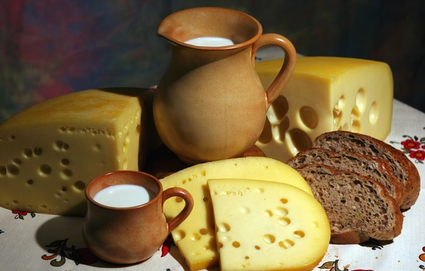 Картинка сыр, молоко, хлеб, кружка, кувшин, аппетитно, ломти