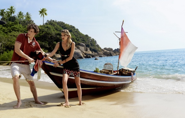Картинка пляж, девушка, пальмы, океан, берег, лодка, остров, парень, и небольшой пейзаж