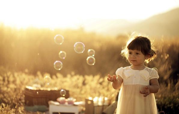 Картинка лето, свет, пузыри, девочка