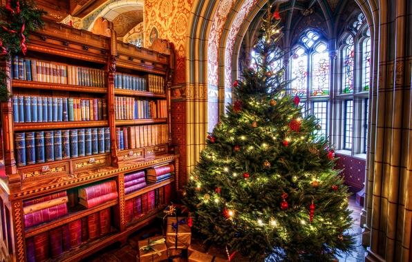 Картинка комната, книги, елка, окно, Рождество, подарки, арка, Новый год, шкаф, Праздник, фреска, Christmas, New year