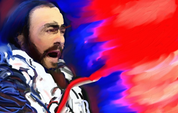 Картинка музыка, живопись, певец, Лучано Паваротти, тенор