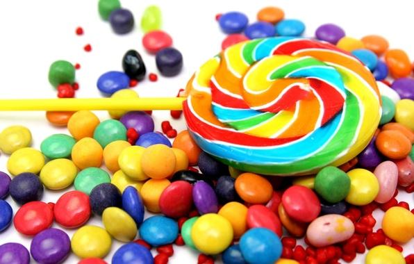 Картинка еда, конфеты, сладости, леденцы, леденец, разноцветные, драже