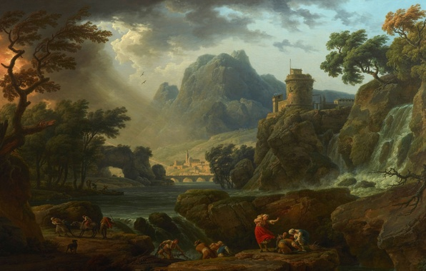 Картинка пейзаж, горы, город, река, люди, скалы, водопад, живопись, поселение, надвигающаяся буря