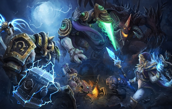 Картинка девушка, магия, молот, демон, воин, starcraft, битва, Lich King, Warcraft, Blizzard, diablo, орк, Arthas, Jaina …