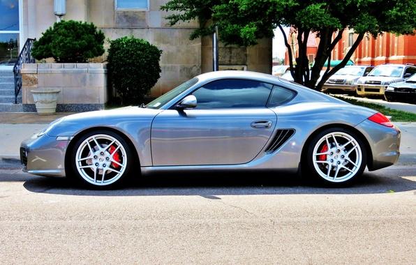 Картинка улица, тюнинг, серебро, парковка, спорткар, автомобиль, диски, Porsche Cayman