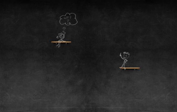 Картинка девушка, ситуация, рисунки, girl, доска, парень, wtf, 1920x1200, мел, pictures, situation, chalk, guy, chalkboard