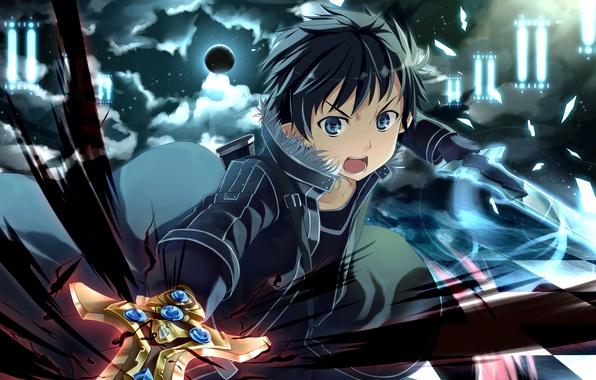 Картинка абстракция, оружие, луна, меч, арт, парень, шахматка, Sword Art Online