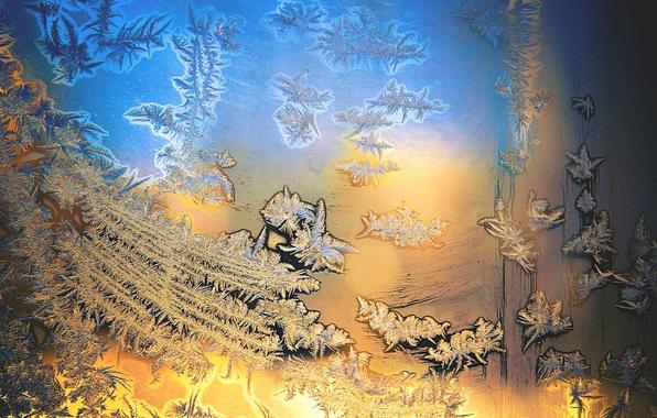 Картинка холод, зима, иней, стекло, синий, желтый, узор, мороз, dobraatebe