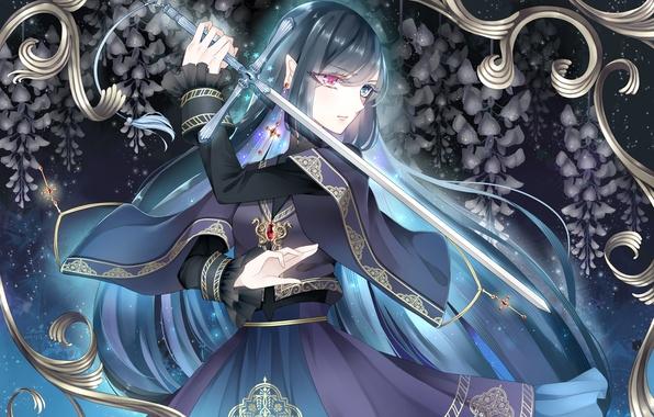 Картинка Девушка, крест, меч, серьга, разные глаза, глициния, вистерия
