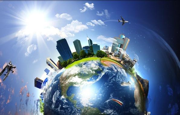Картинка небо, город, самолеты, Земля