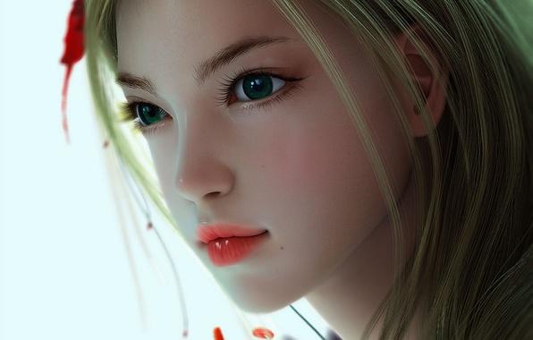 Картинка цветок, девушка, лицо, арт, белый фон, взгялд, Kyonggi-do