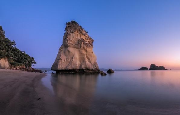 Картинка море, небо, закат, скала, берег, отлив