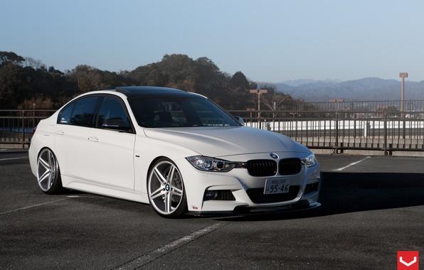 Картинка car, bmw, white, tuning, vossen, 3 Series, f30, Vossen Wheels