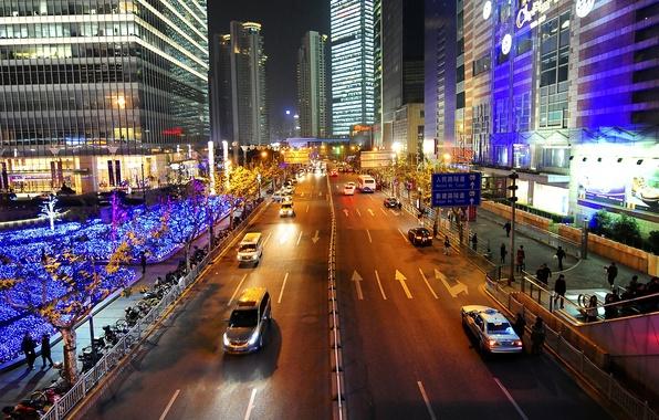 Картинка огни, люди, улица, China, дома, Китай, Shanghai, Шанхай