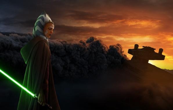 Картинка Дым, Плащ, Звёздные войны, Световой меч, Star wars, Starship, Подбит, Звёздный корабль, Asoka Tano, Асока …