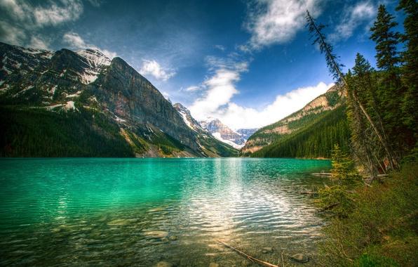 Картинка небо, пейзаж, горы, природа, озеро, Канада, Банф, Louise