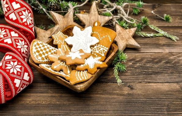 Картинка ветки, праздник, ель, печенье, Рождество, сладости, Новый год, выпечка, ленточка, глазурь, новогоднее