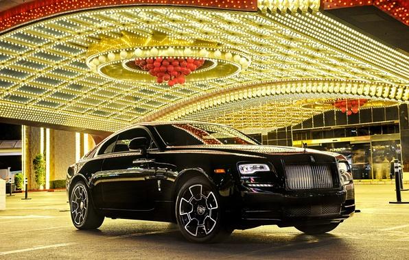 Фото обои Rolls-Royce, роскошь, отражение, свет, Wraith, автомобиль, огни, luxury, car, передок, роллс-ройс, Black Badge, beautiful