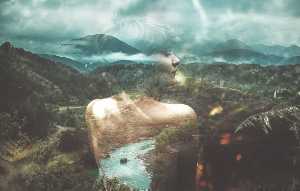 Фото обои double exposure, forest, clouds, river, girl, hills
