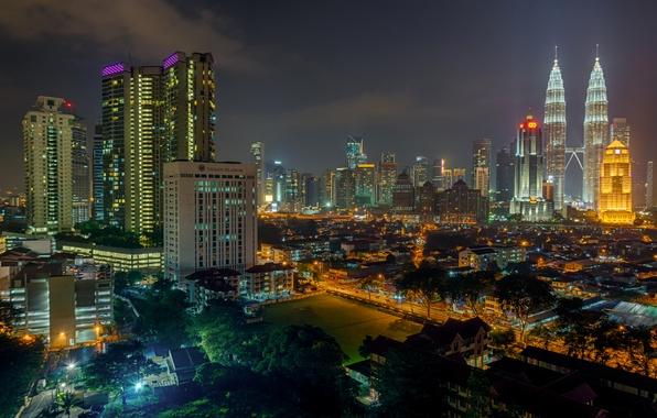 Картинка ночь, огни, дома, небоскребы, Малайзия, Куала-Лумпур