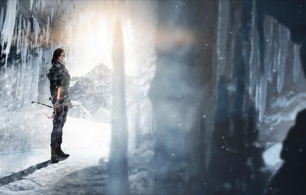 Картинка лед, девушка, свет, лук, пещера, стрелы, lara croft, tomb raider, Rise of the Tomb Raider
