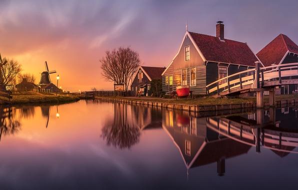 Картинка дома, канал, мельницы, Нидерланды, Zaanse Schans