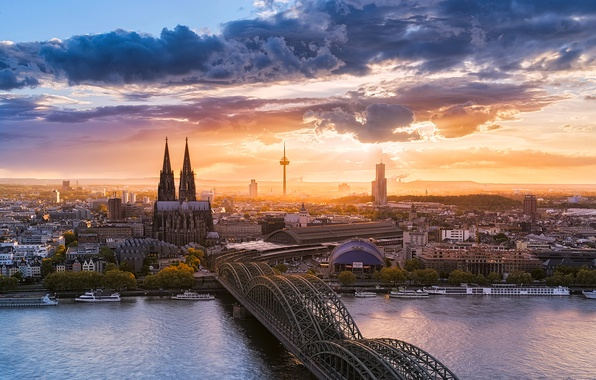 Картинка небо, облака, мост, город, река, Германия, Кёльнский собор, Кёльн