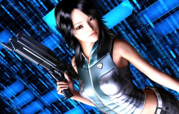 Картинка взгляд, девушка, оружие, значок, форма