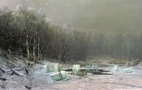 Картинка лед, зима, сани, прорубь
