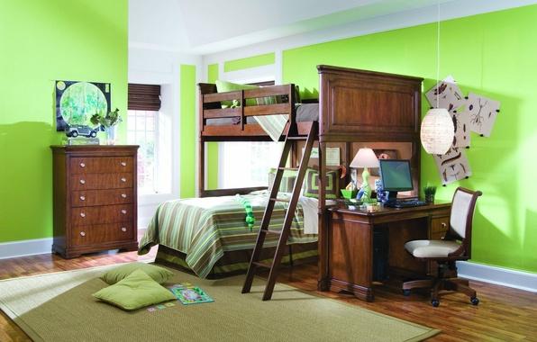Картинка компьютер, зеленый, стол, фон, комната, обои, ковер, лампа, кровать, интерьер, подушки, зеркало, стул, кухня, квартира, …