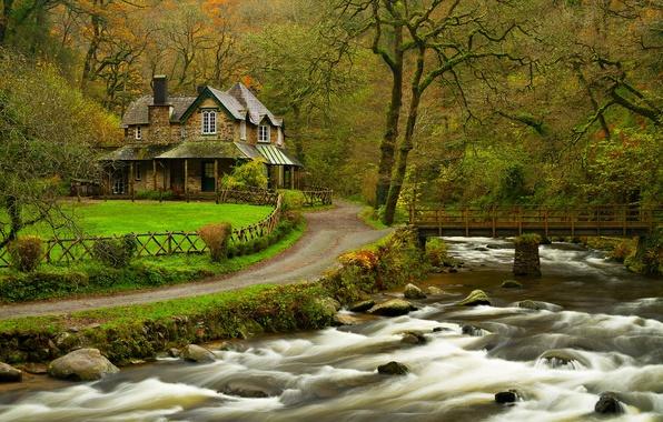 Картинка лес, листья, вода, деревья, горы, мост, природа, дом, парк, река, дома, colors, colorful, house, forest, …