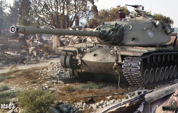 Картинка гусеница, город, танк, руины, американский, тяжелый, World of Tanks, М103, сбитая