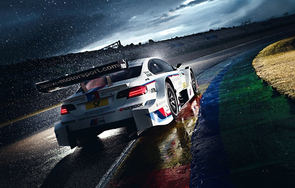 Картинка BMW, Race, White, Rain, DTM, Team, Morning, Competition, Track, M Power