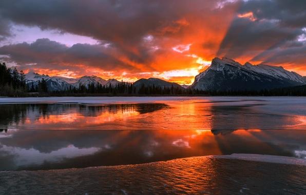 Картинка зима, снег, горы, рассвет, утро, Канада, Альберта, Национальный парк Банф, агонь