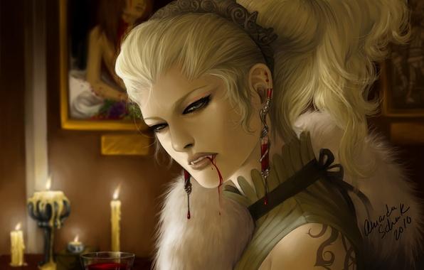 Картинка девушка, украшения, кровь, свечи, арт, вампир, мех